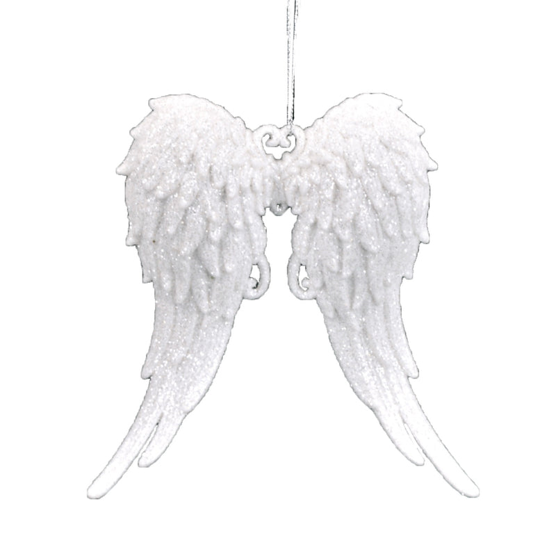 White Glitter Angel Wing Ornament, ST-Starlight Trading, Putti Fine Furnishings