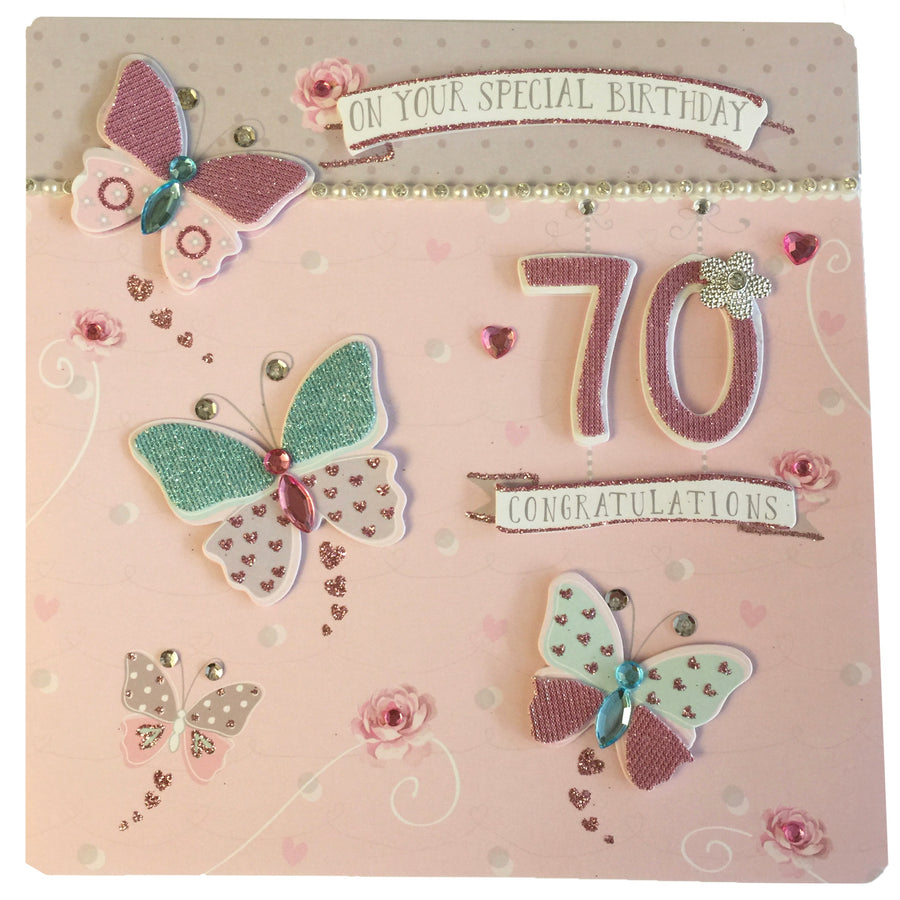 """70 Happy Birthday"" Greeting Card"