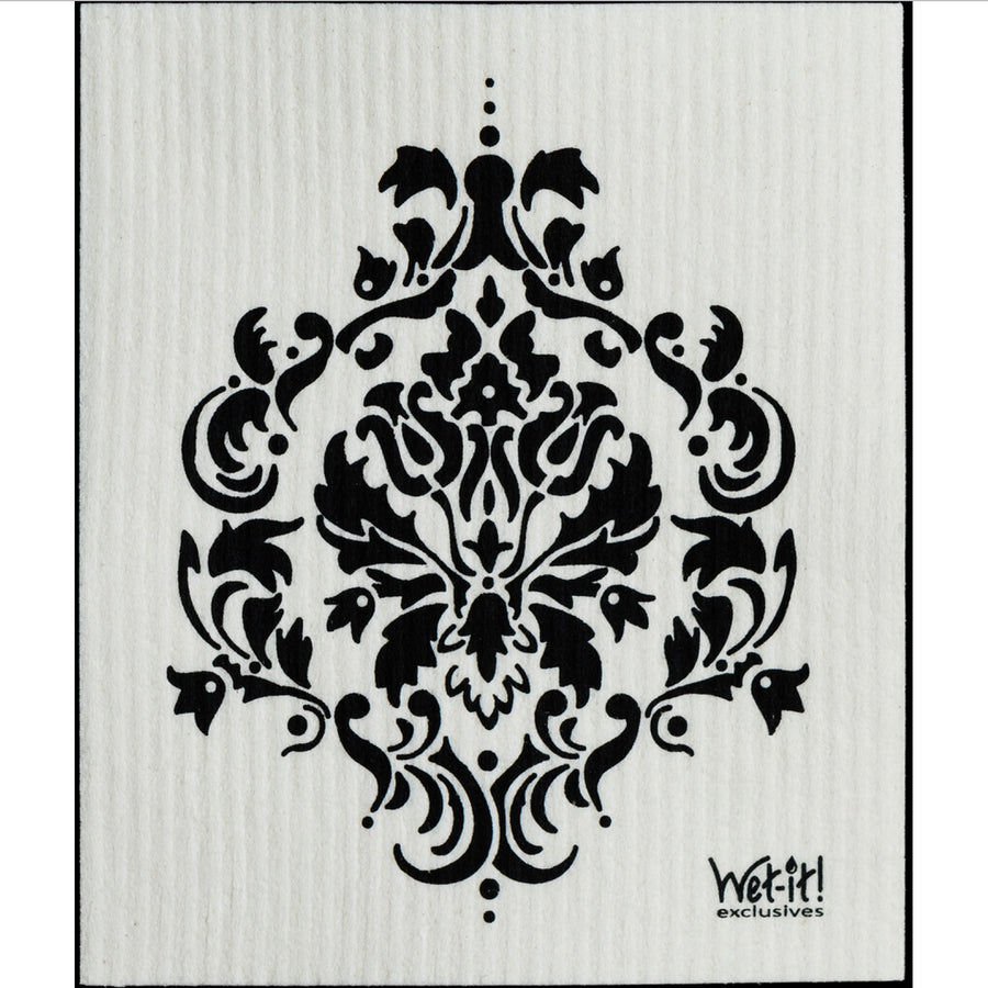 Damask Black Swedish Cloth