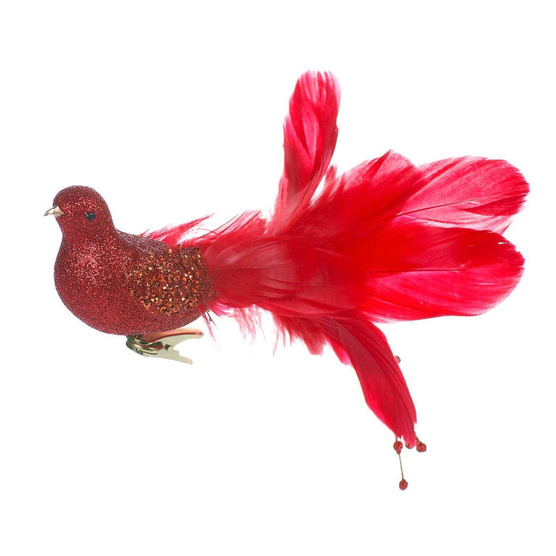 Red Glitter Bird with Feather Tail, CT-Christmas Tradition, Putti Fine Furnishings