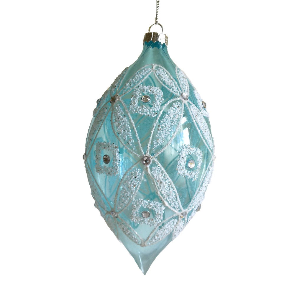 Aqua Glass with Crystals Double Point Ornament