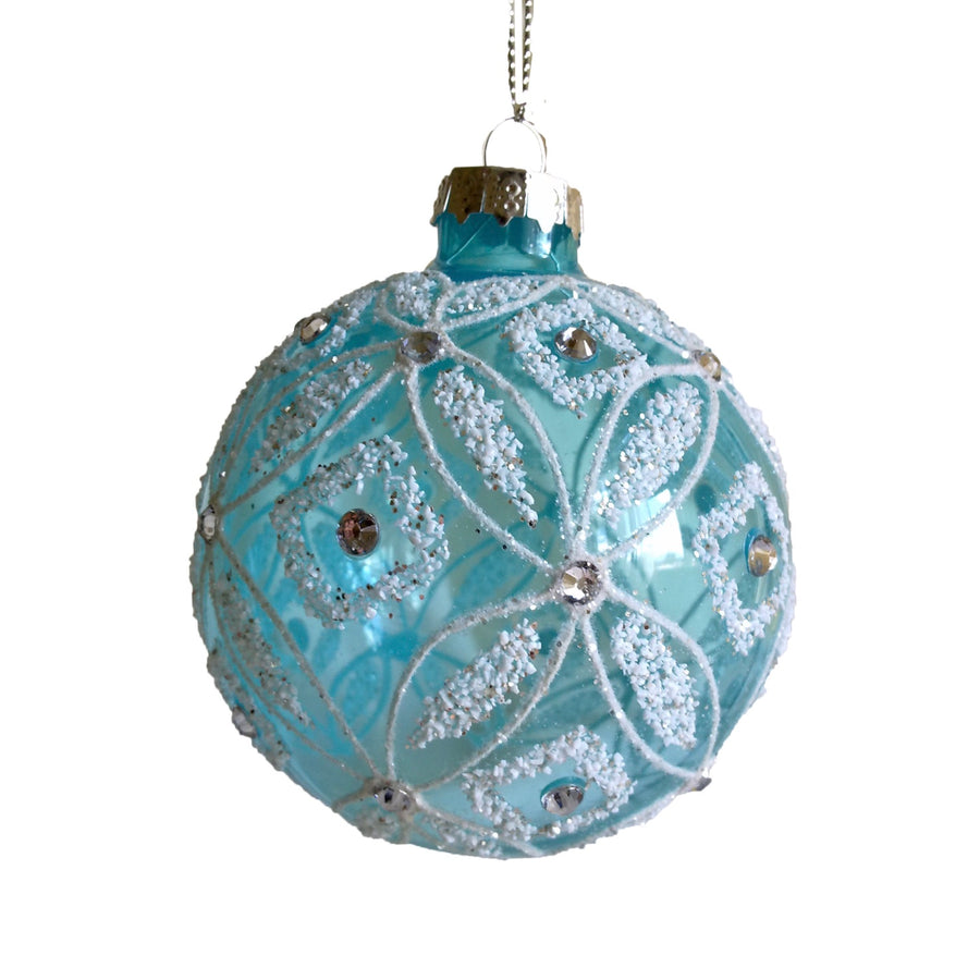 Aqua Glass with Crystals Ball Ornament