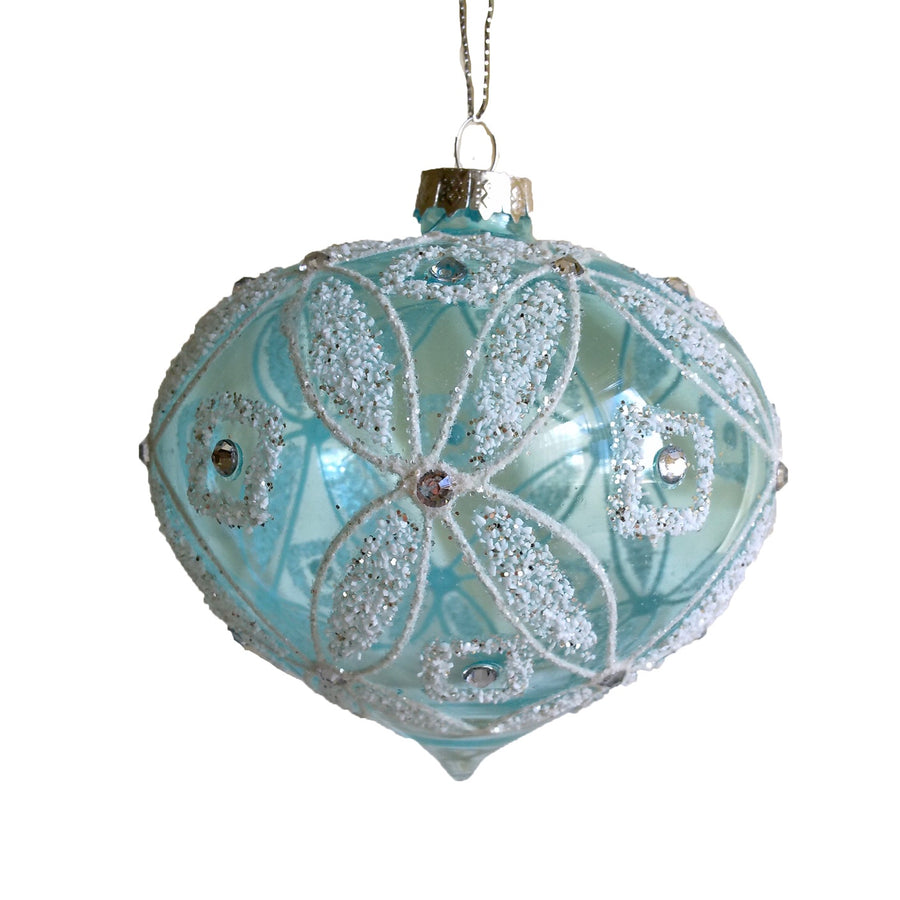 Aqua Glass with Crystal Onion Ornament