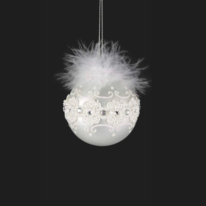 White Lace Feathered Ornament, CT-Christmas Tradition, Putti Fine Furnishings