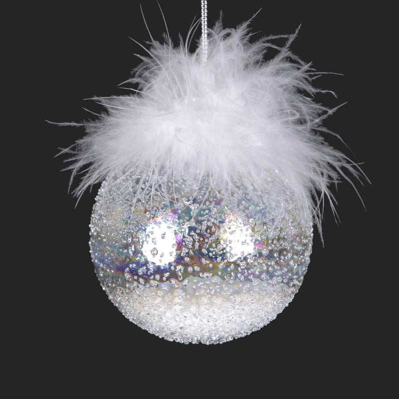 Ice Ball with Feather Glass Ornament, CT-Christmas Tradition, Putti Fine Furnishings