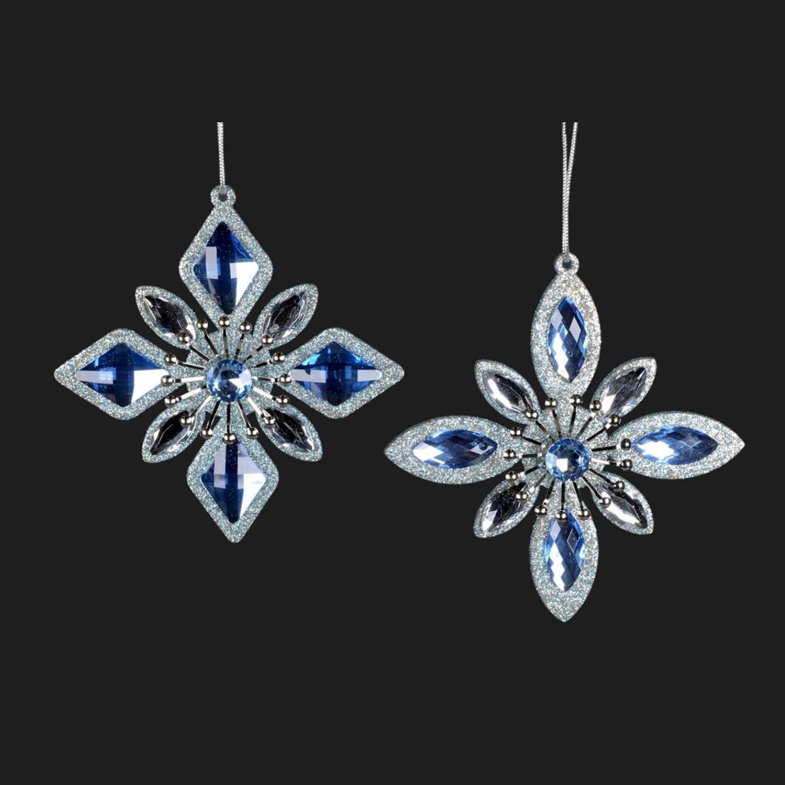 Blue and Silver Jewel Snowflake Ornament
