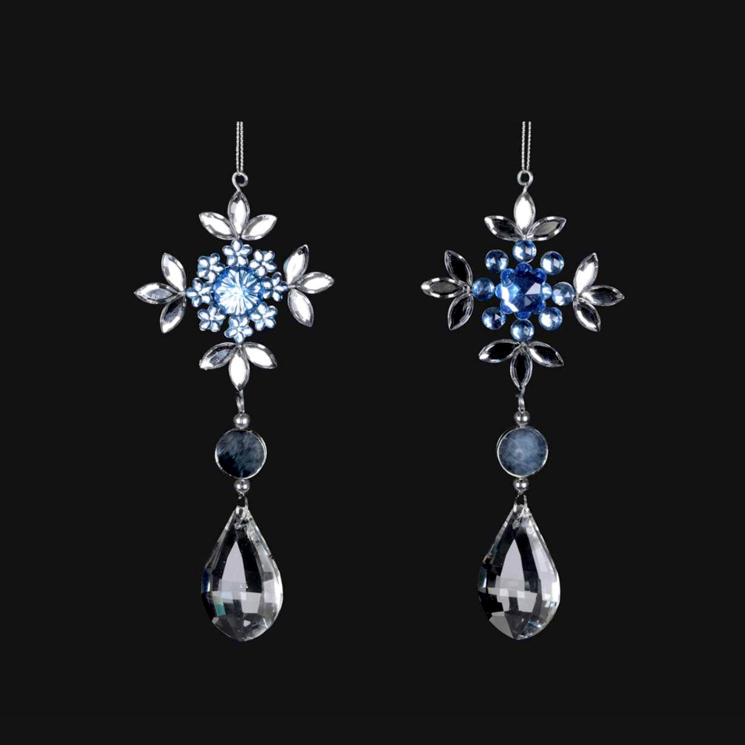 Blue and Silver Snowflake Pendant Ornament, CT-Christmas Tradition, Putti Fine Furnishings