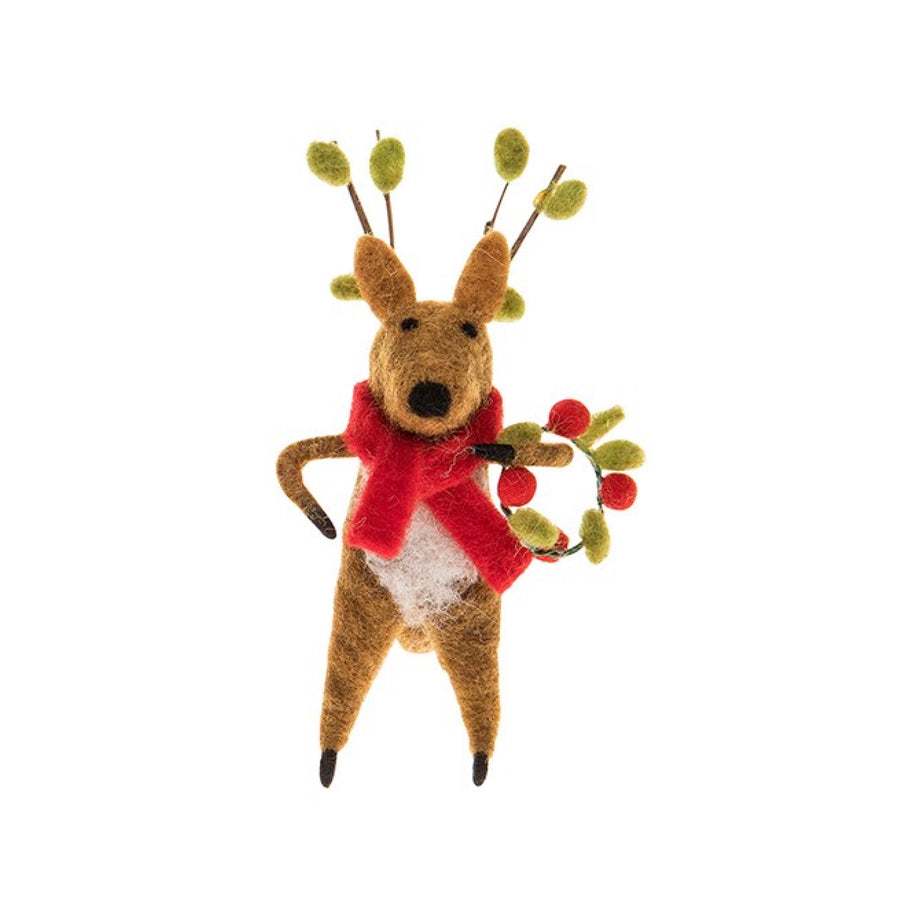 Felted Reindeer with Wreath, JDUK-Joe Davies Uk, Putti Fine Furnishings