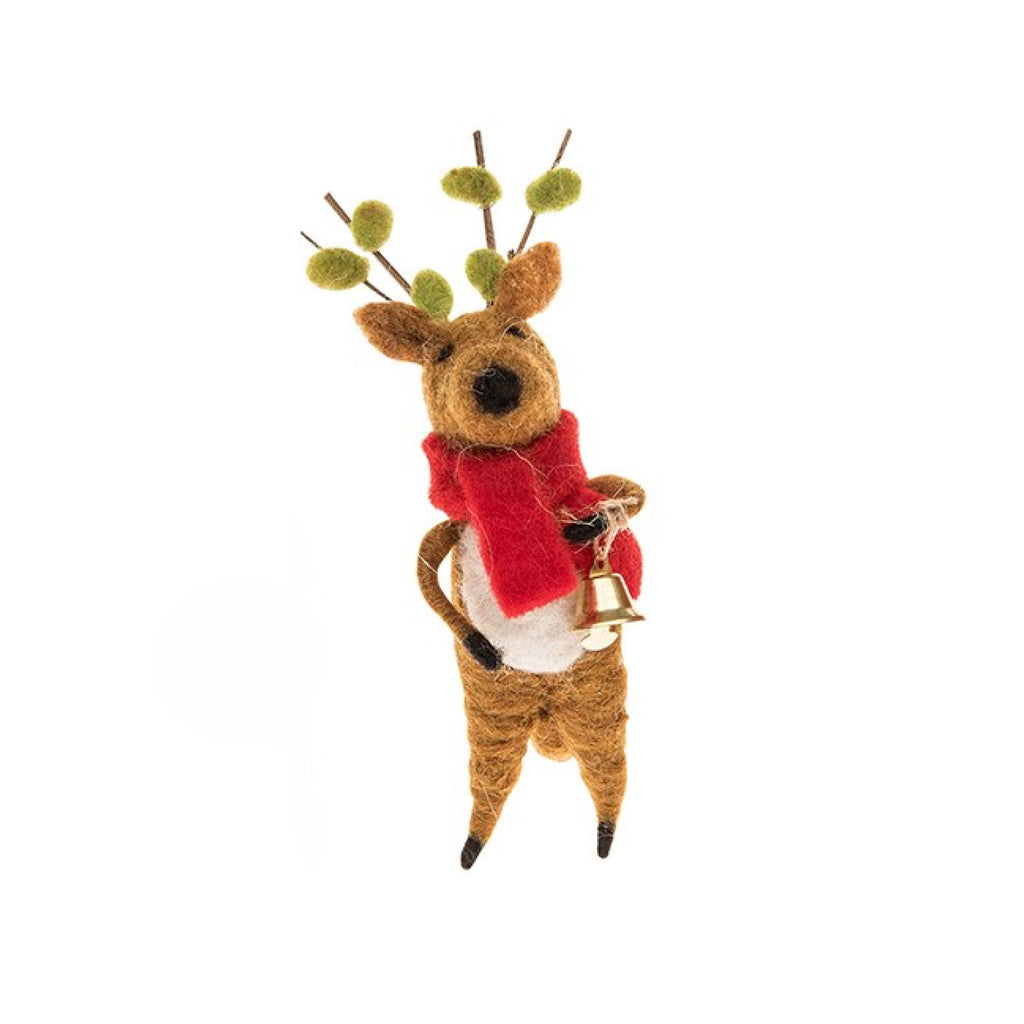 Felted Reindeer with Bell, JDUK-Joe Davies Uk, Putti Fine Furnishings