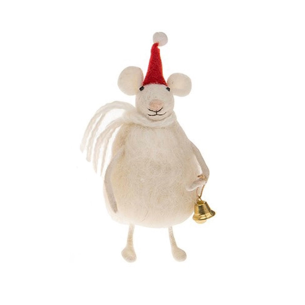 Felted Fat Mouse with Bell, JDUK-Joe Davies Uk, Putti Fine Furnishings