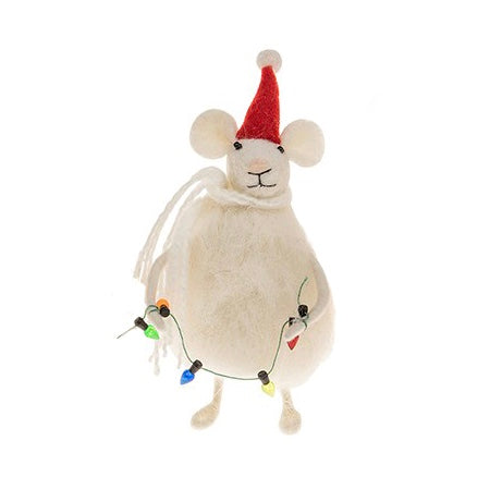 Felted Fat Mouse with Christmas Lights