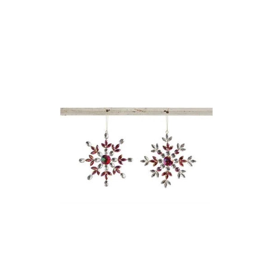 Red Jewelled Snowflake Ornament