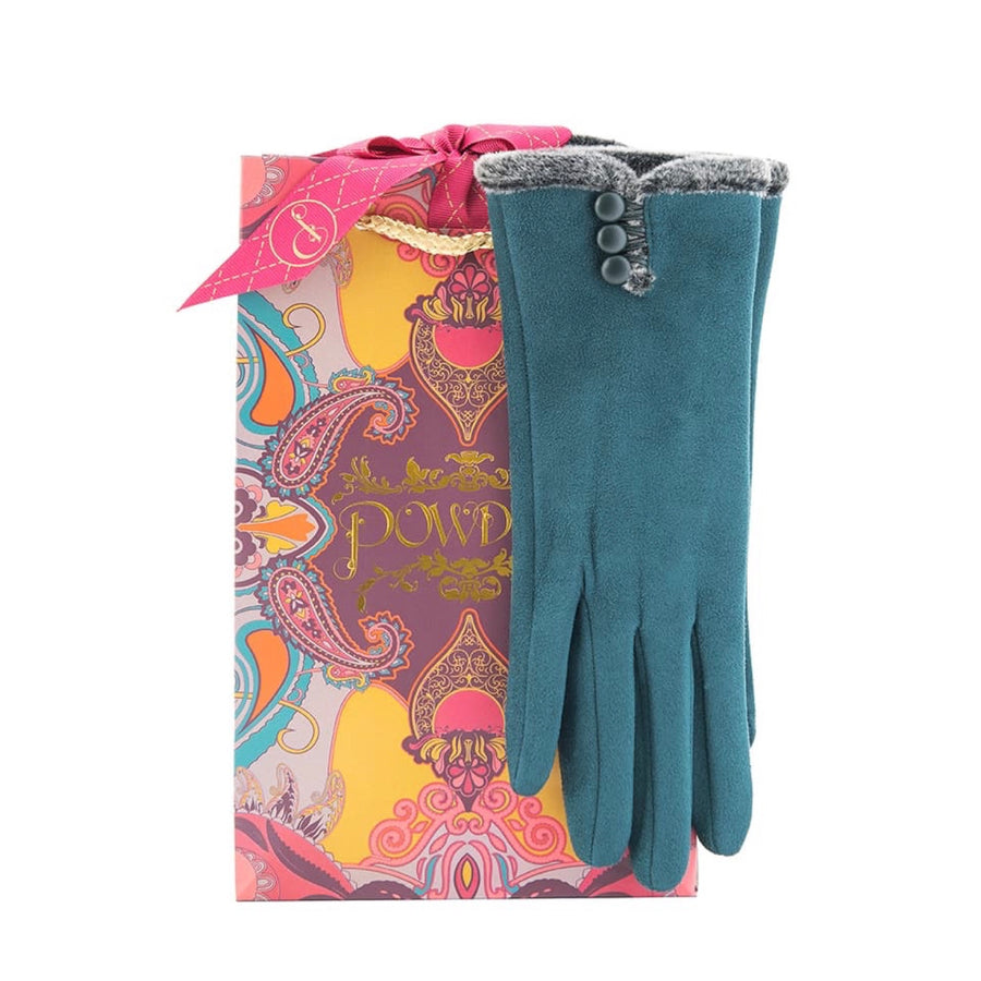 "Powder ""Amanda"" Faux Suede Gloves - Teal"