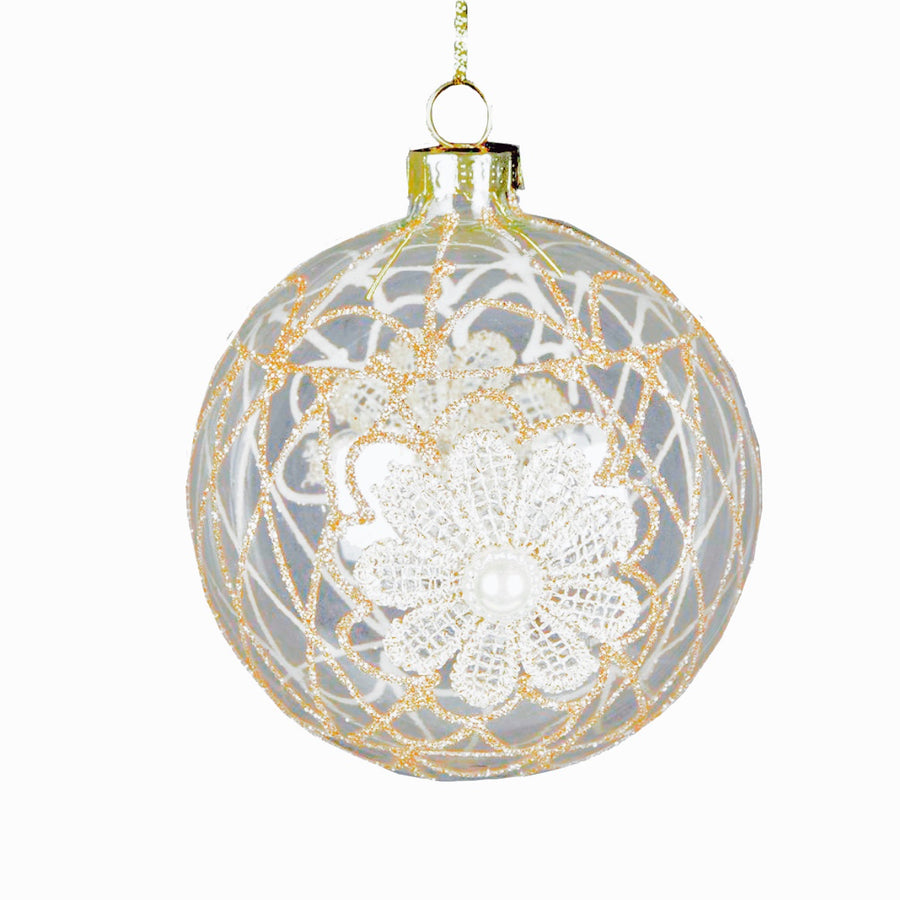 Clear Ball with Gold Lace Design Ornament, CT-Christmas Tradition, Putti Fine Furnishings