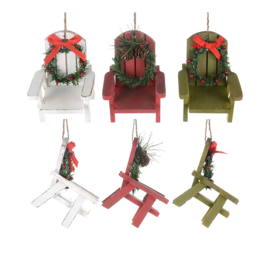 Muskoka Chair Ornament with Wreath