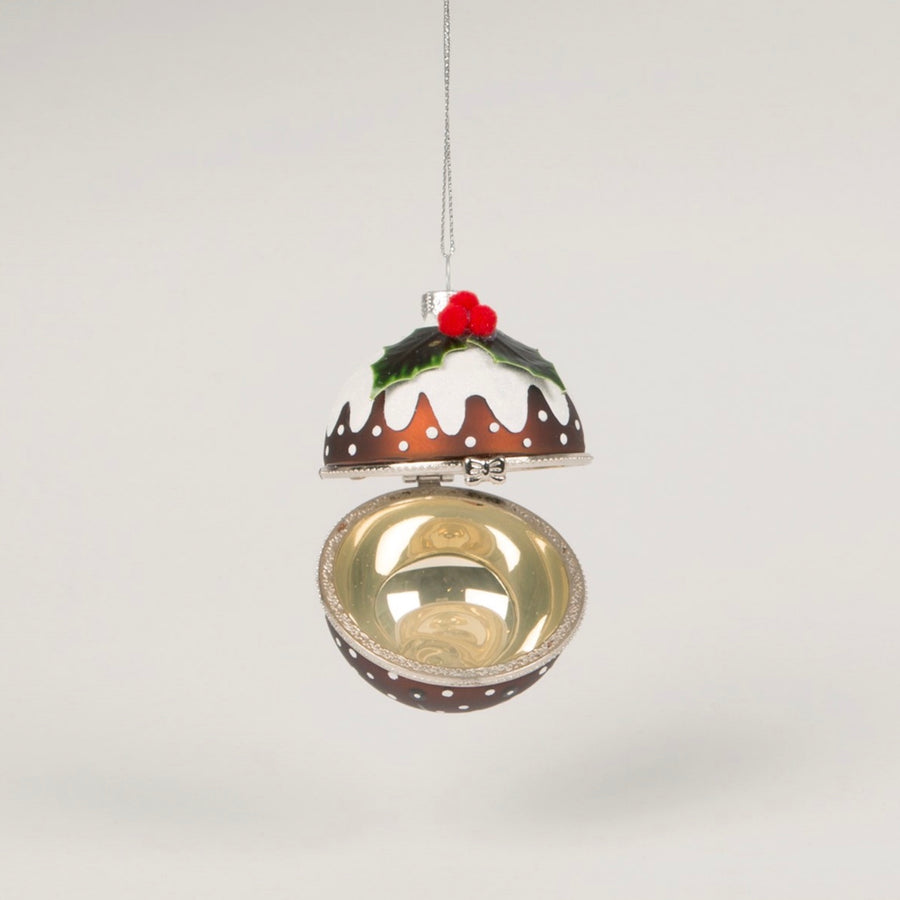 Christmas Pudding Trinket Box Glass Ornament