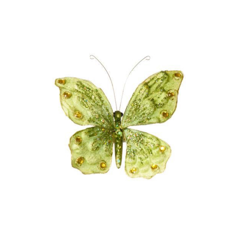 Green Velvet Butterfly Ornament