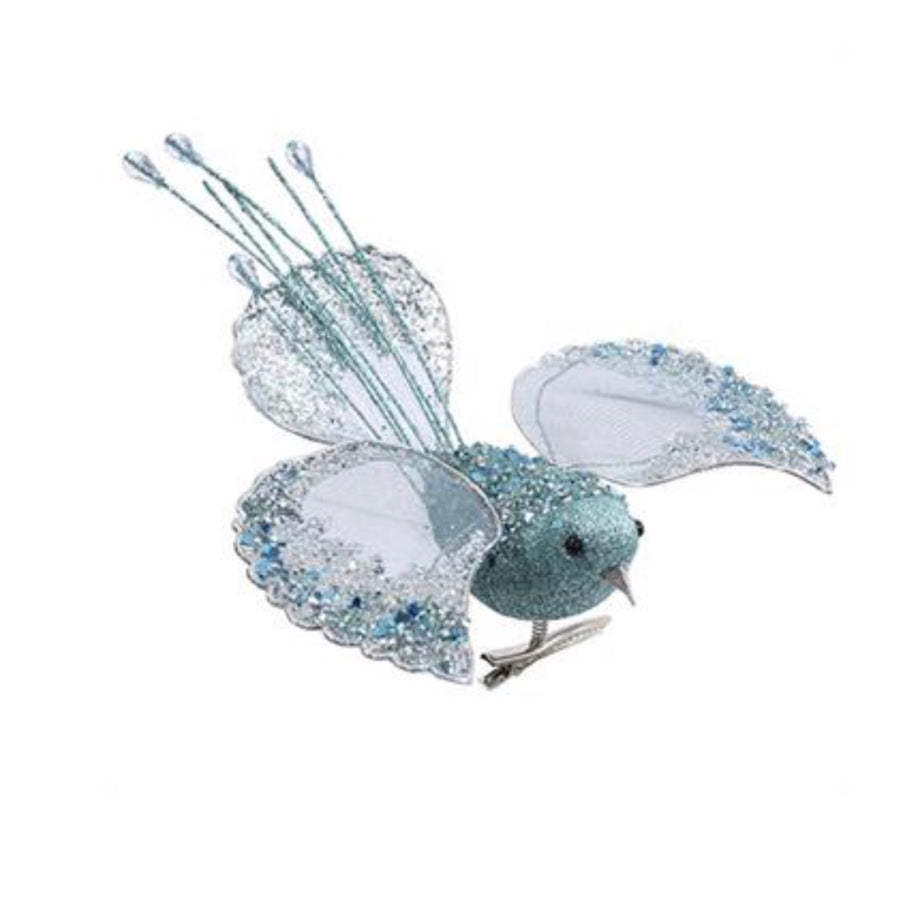 Aqua Glittered Bird Ornament with Clip