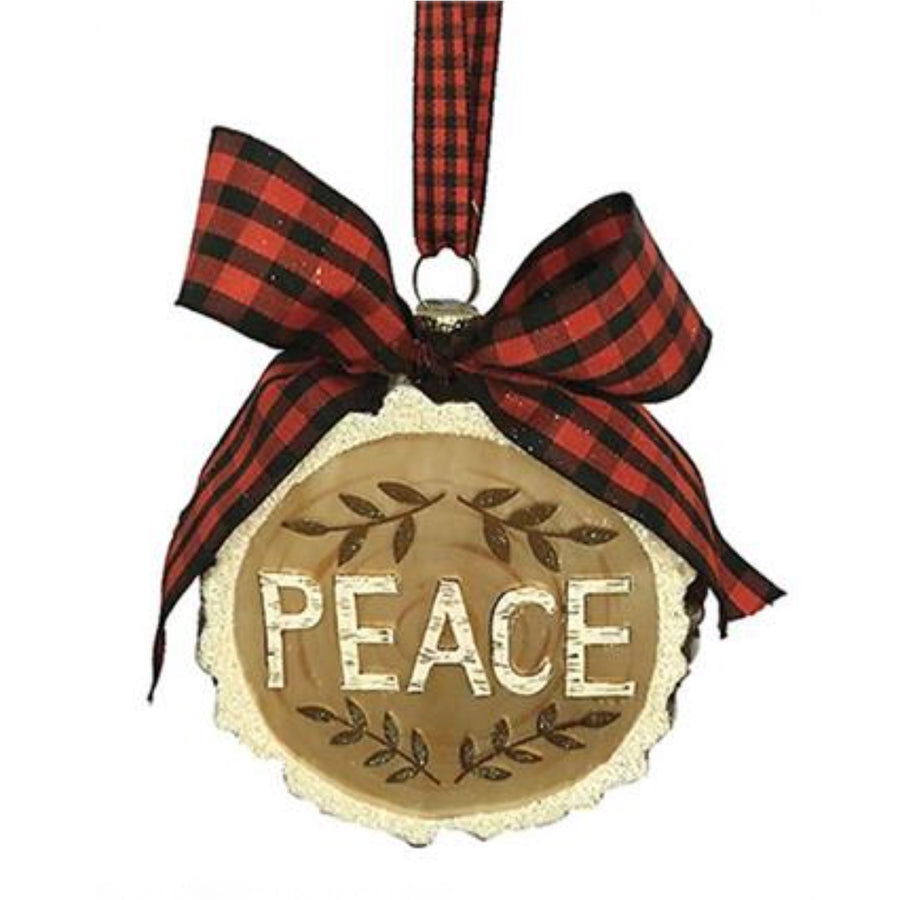 """Peace"" Woodcut Glass Ornament with Bow"
