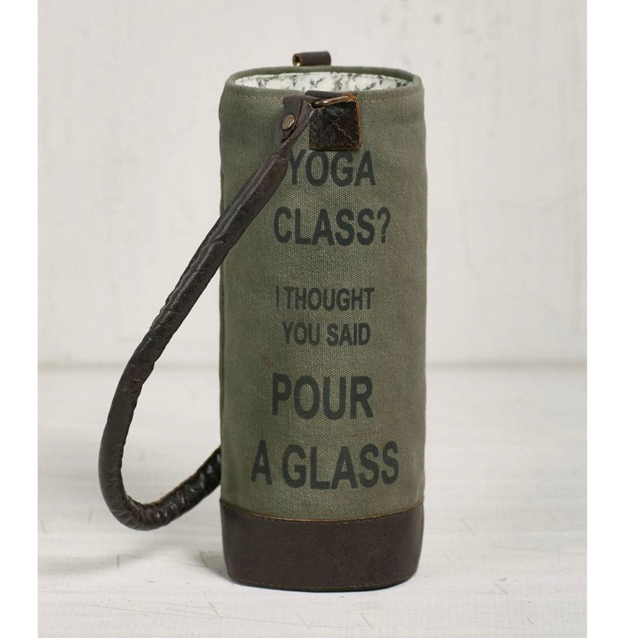 Recycled Canvas Wine Bottle Bag - Yoga Class