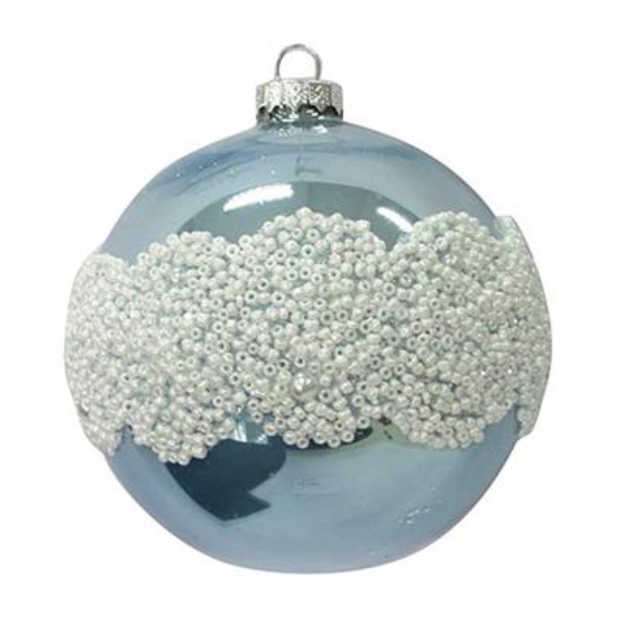 Shiny Blue with White Beading Glass Ball Ornament