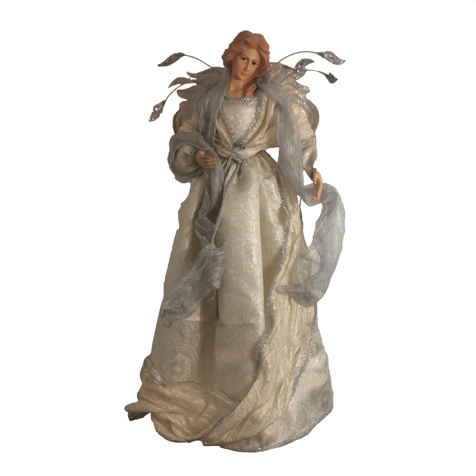 Large Ivory and Silver Tabletop Angel
