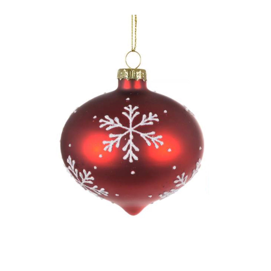 Red with White Snowflake Glass Ornament  - Onion
