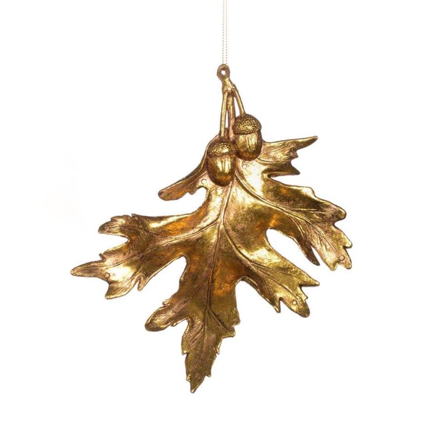 Antique Gold Oak Leaf Ornament