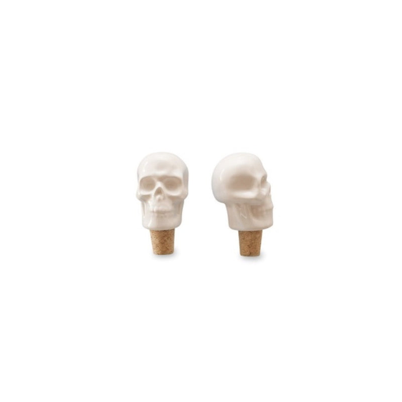 Invotis White Ceramic Skull Bottle Stopper - Putti Fine Furnishings Canada