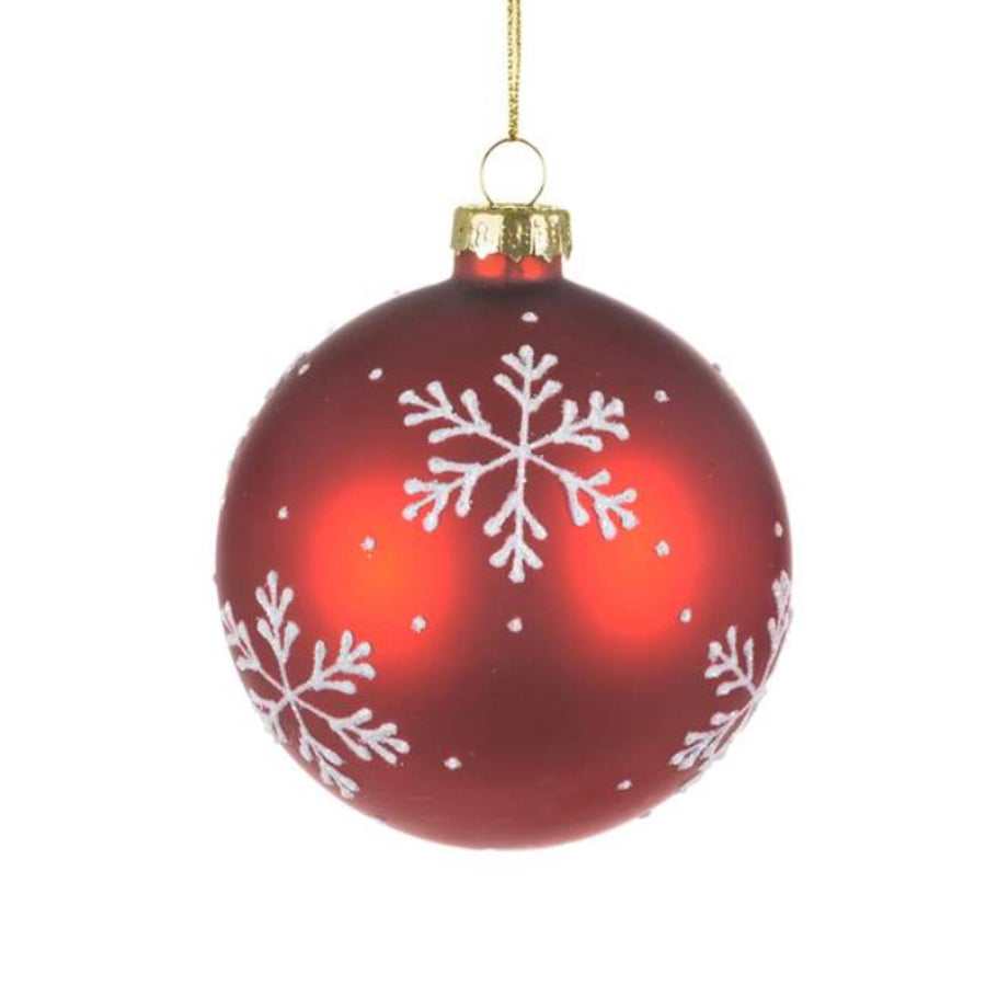 Red with White Snowflake Glass Ornament  - Ball