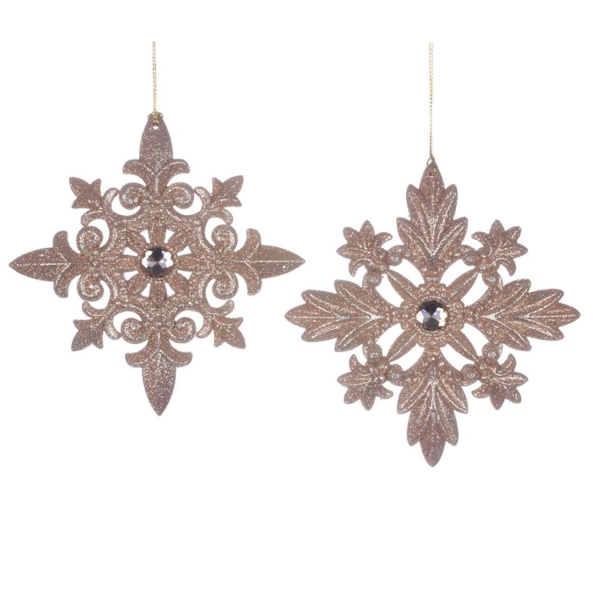Rose Gold Glittered Snowflake Ornament, CT-Christmas Tradition, Putti Fine Furnishings