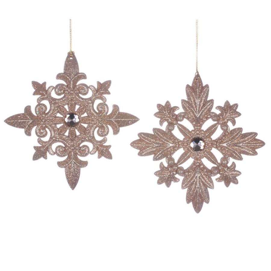 Rose Gold Glittered Snowflake Ornament