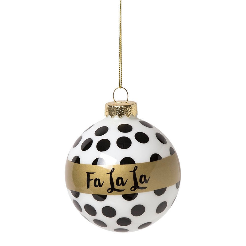 Black & Gold Reindeer & 'Fa La La' Glass Ball Ornament Set, CRG-CR Gibson, Putti Fine Furnishings