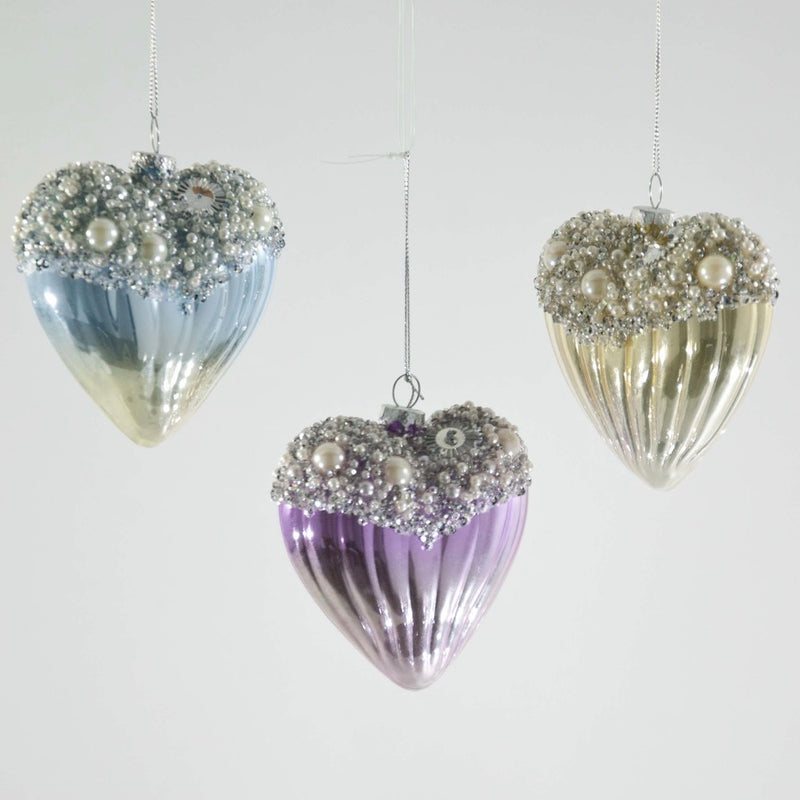 Pearl Beaded Pastel Heart Ornament, KC-Katherine's Collection, Putti Fine Furnishings