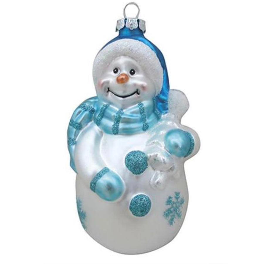 Aqua Glass Snowman Ornament