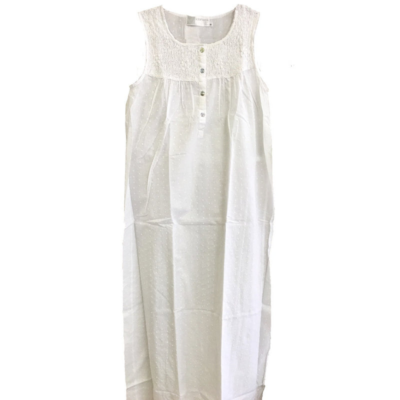 "Victoriana ""Janice"" Sleeveless White Nightgown"