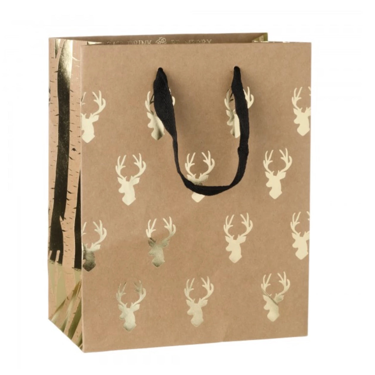 Gold Foil Reindeer Gift Bag