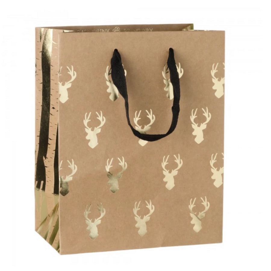 Gold Foil Reindeer Gift Bag, CB-Creative Bag, Putti Fine Furnishings