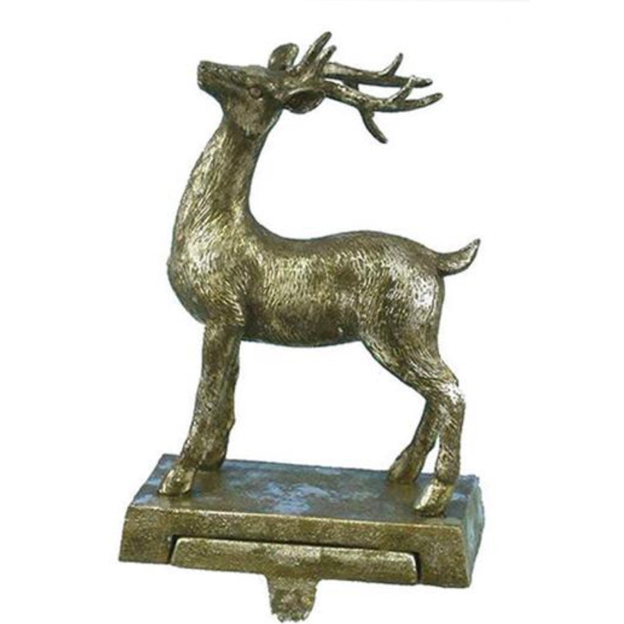 Antique Silver Standing Deer Stocking Holder