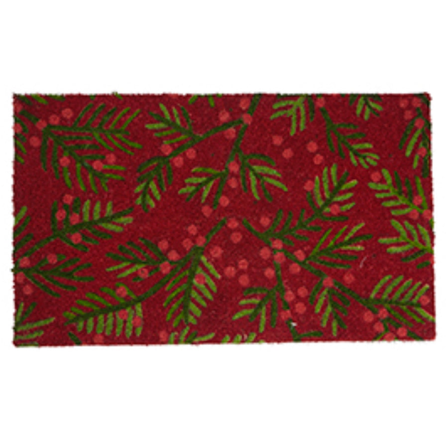 """Fern and Berries"" Printed Coir Doormat"