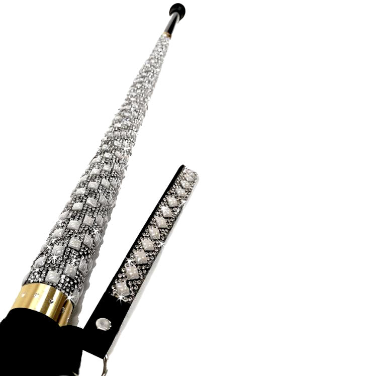 """Sugar Cane"" Adjustable Aluminum Pearl & Crystal Cane"