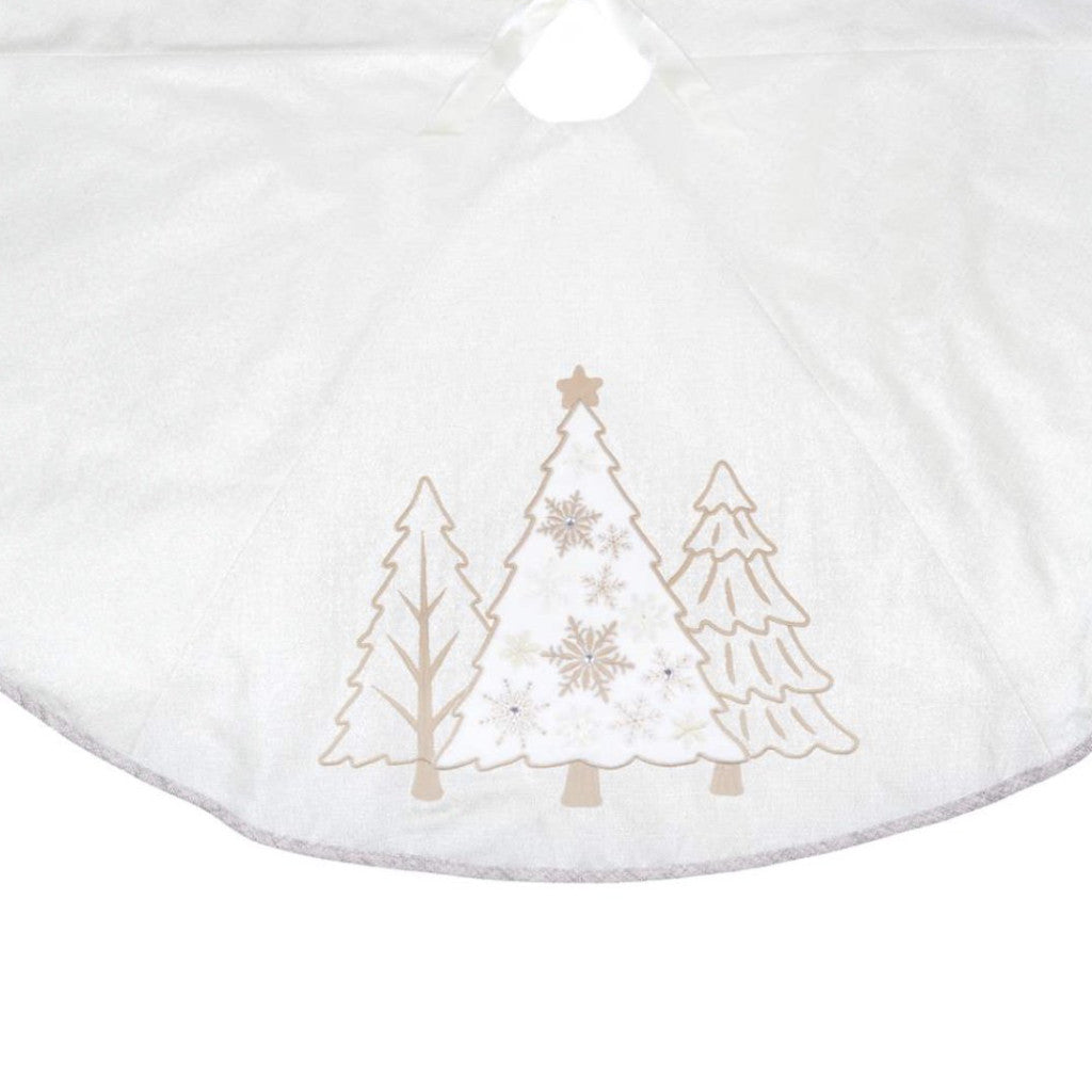 Ivory and Gold Christmas Tree skirt, CT-Christmas Tradition, Putti Fine Furnishings