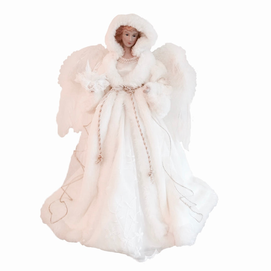 Winter White Angel with Fur Hat