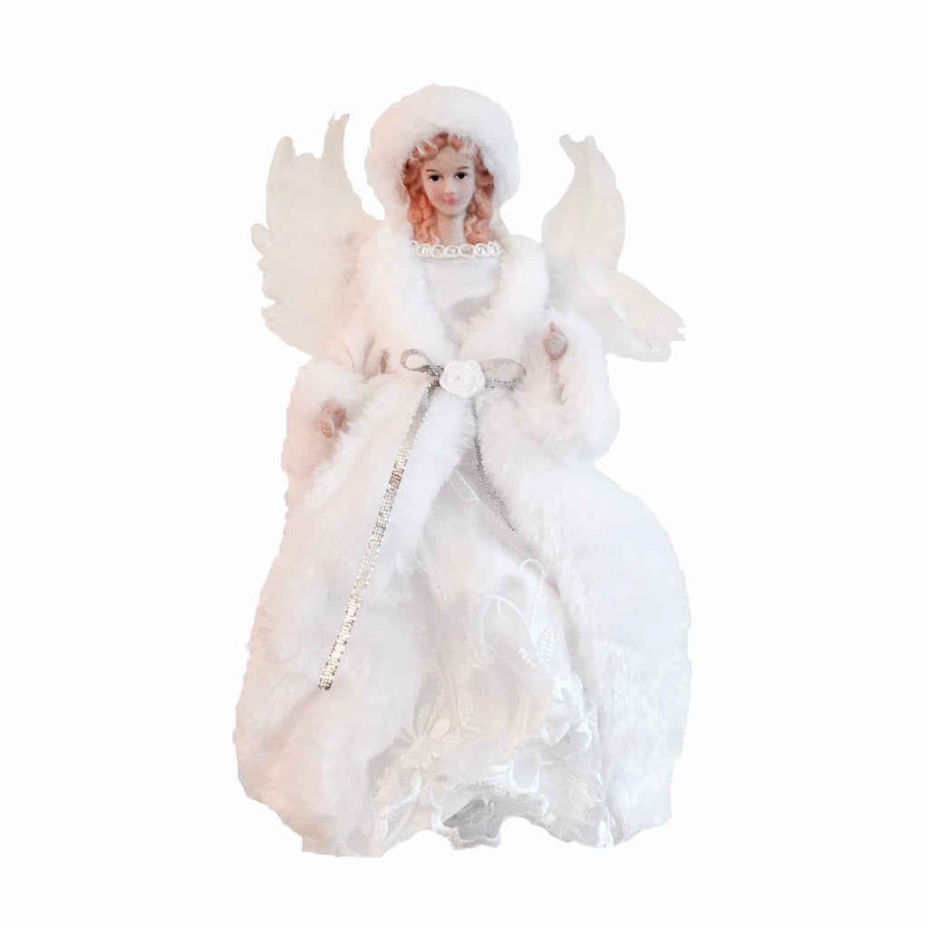 Small White and Silver Christmas Angel Tree Topper | Putti Fine Furnishings