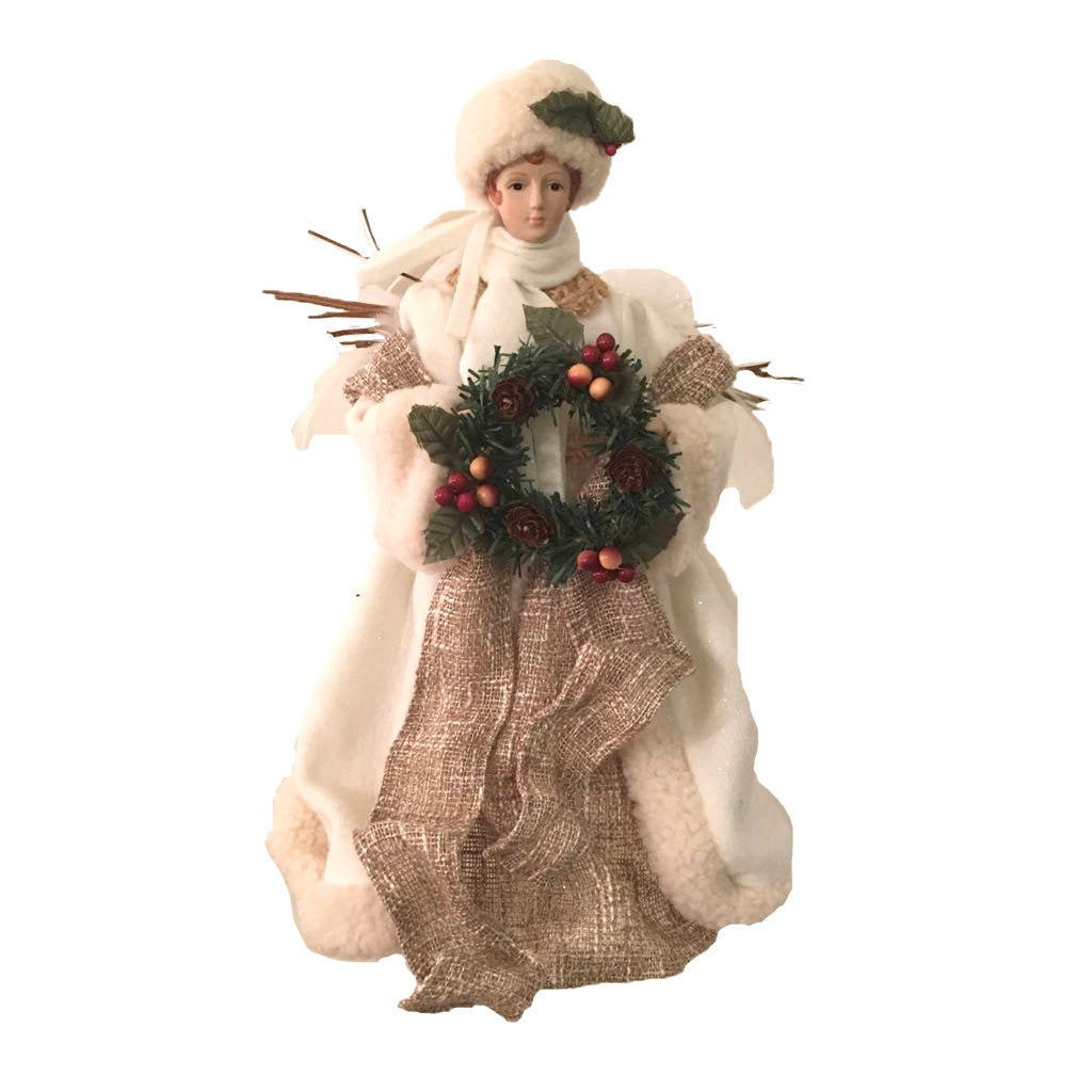 Small Burlap Angel with Wreath