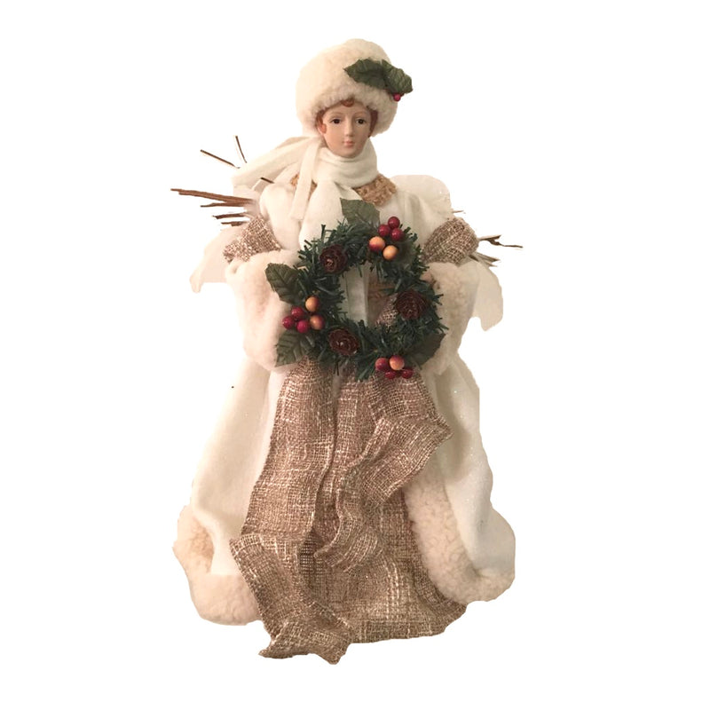 Small Burlap Angel with Wreath Christmas Tree Topper | Putti Fine Furnishings