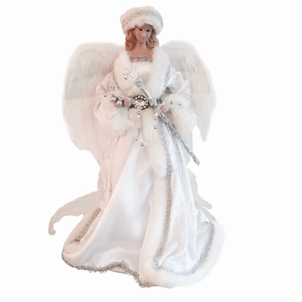 White Angel Christmas Tree Topper with Sceptre and Feather Wings  Putti Fine Furnishings