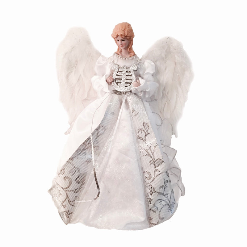 White Angel with Harp and Feather Wings, CT-Christmas Tradition, Putti Fine Furnishings