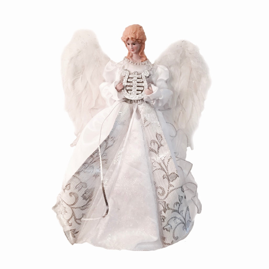 White Angel with Harp and Feather Wings