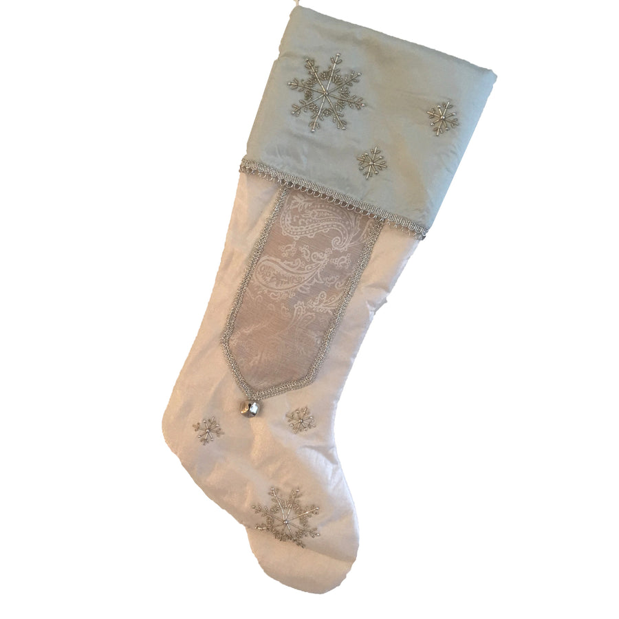Ivory & Aqua Snowflake Stocking